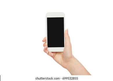 Female hand holding mobile phone isolated on white background, close-up, cutout, copy space on the screen