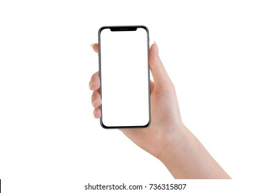 Female hand holding modern black phone, isolated on white background