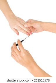female hand holding a nail file on a white