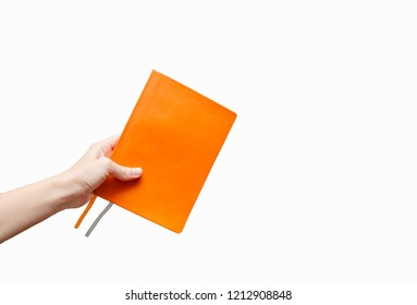 Female hand holding a notebook. Planning and writing and educational and creative  Concept. European, hands, white abstrack background. isolated close up.