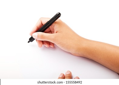 female hand holding a pen