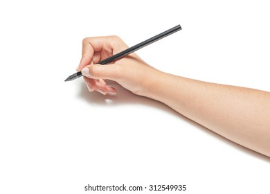 female hand holding pencil on white background