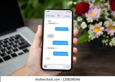 female hand holding phone with app messenger on the screen over desk with laptop and flowers