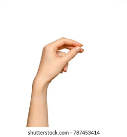 Female hand in a holding position isolated on white