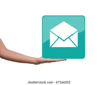 female hand holding a rectangular icon isolated on white