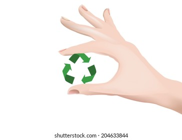 female hand holding up the recycling symbol