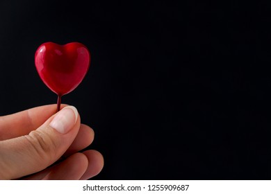 Female hand holding red glossy heart on black background with copy space. Symbol of love and Valentine's day