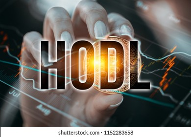 female hand holding shiny ethereum data chart and hodl word in front of stock market chart