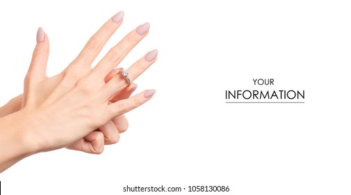 Female hand holding a silver ring bijouterie pattern on white background isolation