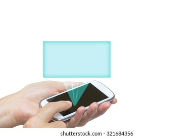 Female hand is holding smart phone. Transparent green blue rectangle radiates from the black touchscreen. Isolated on the white background. All potential trademarks are removed.
