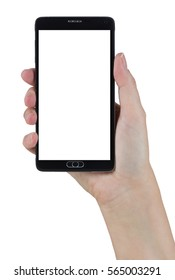 Female Hand Holding A Smart Phone with Blank Screen Isolated on a White Background.