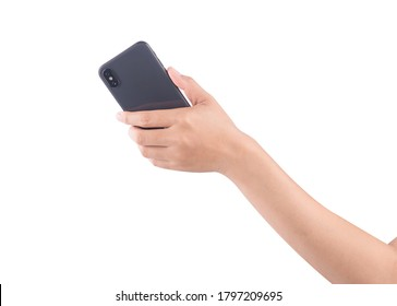 Female hand holding and touching on mobile smartphone show back side.