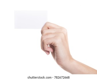 Female hand holding a white card on a white background