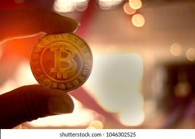 Female hand holds a bitcoin gold, with a blurred background. This is the Symbol of Digital Currency.