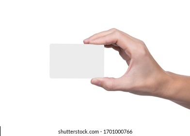 Female hand holds white card on a white background