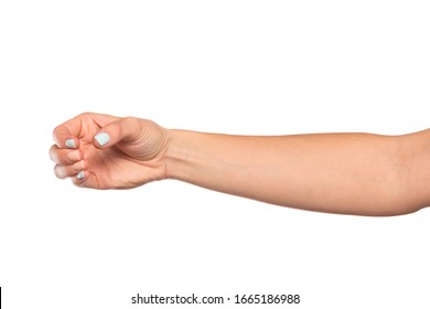 female hand isolated on white background showing hand gestures