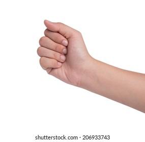 Female hand  isolated on white, rock roshambo sign