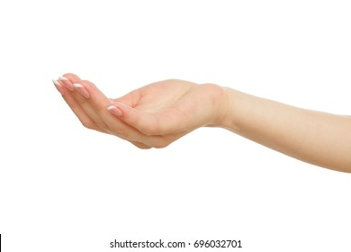 Female hand keeping empty cupped palm, close-up, cutout, isolated on white background. Offering or begging concept.
