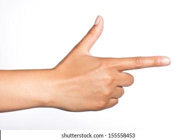 female hand making gun sign