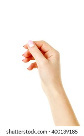 Female hand with manicure on a white background