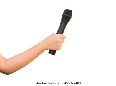 female hand with microphone isolate on white background