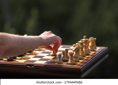 Female hand moves pawn on chessboard with set pieces. Wooden Chessboard and Chess Pieces.