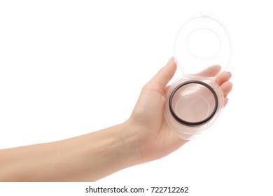 Female hand photo filter on white background isolation