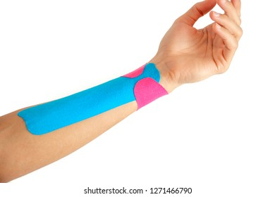 Female hand with physio tape on white background