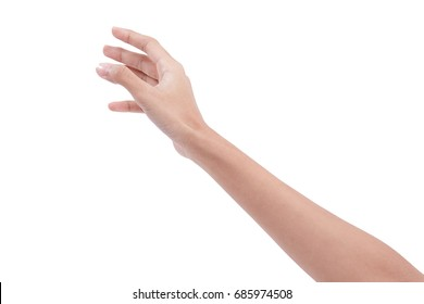 female hand in picking gesture isolate on white background