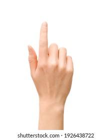 female hand pointing upwards on isolated white background