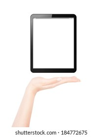 Female hand presents blank tablet pc