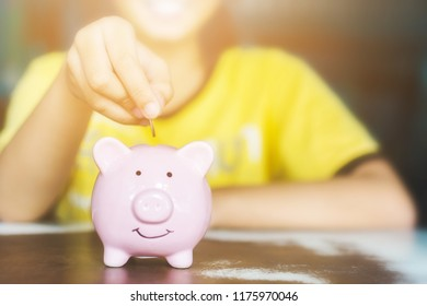 Female hand putting coin in piggy bank. Save money and financial investment