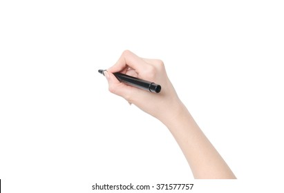 Female hand is ready for drawing with black marker. Isolated on white. - Shutterstock ID 371577757