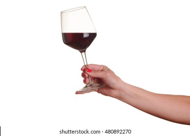female hand with red wine glass on a white background