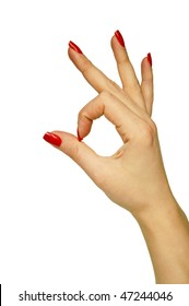 Female hand showing OK sign