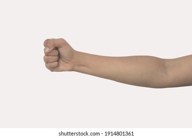 female hand showing sign with white background