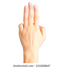 Female hand showing three fingers, swear sign or multitouch gesture. Isolated with clipping path.
