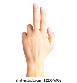 Female hand showing two fingers, swear sign or multitouch gesture. Isolated with clipping path.