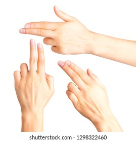 Female hand showing two fingers up in the peace, swear sign or multitouch gesture. Isolated with clipping path.