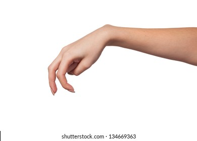A Female hand is showing the walking fingers isolated on a white background