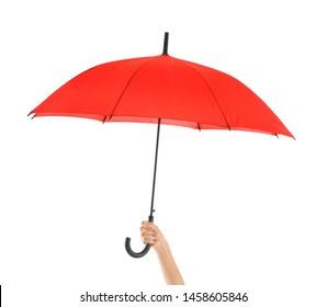 Female hand with stylish umbrella on white background