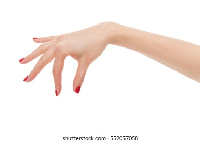A female hand to take something. Isolated on white background.