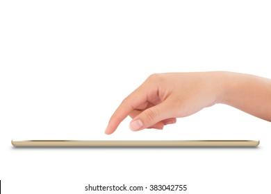 female hand touching on mock up tablet like ipades style isolated with clipping path inside