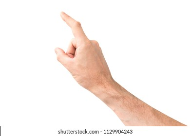 Female hand touching or pointing finger to something isolated on white background