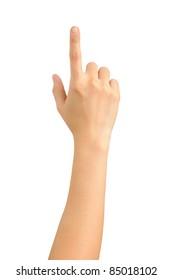 female hand touching screen