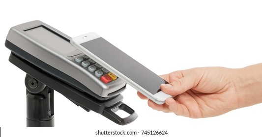 Female hand use smartphone for contactless payment with nfc techology. Side view isolated on white background