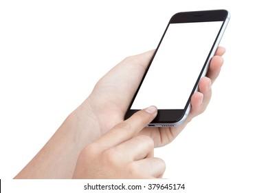 female hand using phone similar to iphone6 isolated on white background