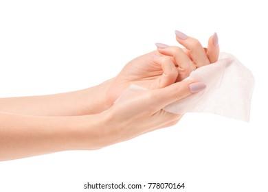 Female hand wet wipe on white background isolation
