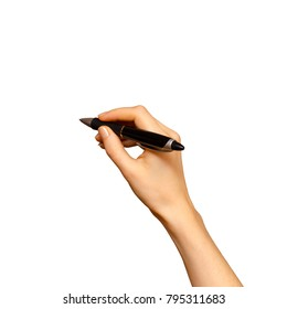 Female hand whiting with ballpoint pen, isolated on white