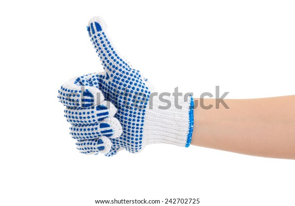 female hand in work glove thumbs up isolated on white background